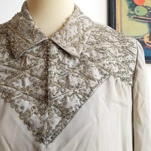 Gorgeous Hand Made 60s 70s Light Gray Beaded Shift